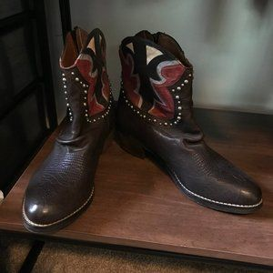 Sam Edelman navy and red cowboy booties 7.5